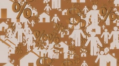 Houses,person,dollar and persent icons in white and golden colors Stock Footage