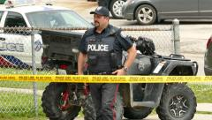 4K UHD - Toronto Police Services All Terrain Vehicle (ATV) in action - stock footage
