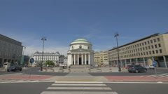 Crosswalk in front of St Alexander's Church in Warsaw Stock Footage