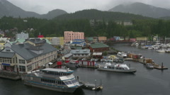 Ketchikan Alaska Port And Town With Mild Rain. Logos Removed! Stock Footage