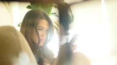 Beautiful asian women using smart phone searching the web. lifestyle background Arkistovideo