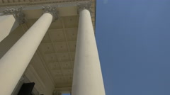 Corinthian columns at the Roman Catholic Parish of St. Alexander portico, Warsaw Stock Footage
