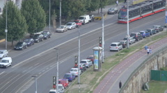 Tram moving on a street in Prague Stock Footage
