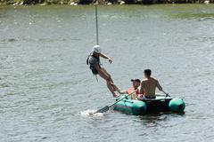 Extreme sports ropejumping - stock photo
