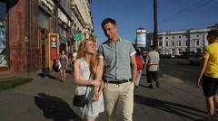 Happy couple in love walking in St Petersburg Stock Footage