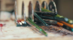 Paint Brushes In and Out of Focus 1080p Stock Footage