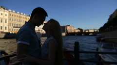 Beautiful couple on a walk along the river Stock Footage