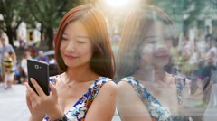 Lifestyle portrait of young cute asian women looking at camera. city people view Stock Footage