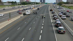 4K UHD - Bird's eye view of the scene of an accident on a highway Stock Footage
