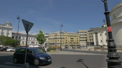Walking in Three Crosses Square on a sunny day in Warsaw Stock Footage