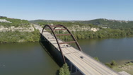 Stock Video Footage of Austin 360 Bridge Aerial