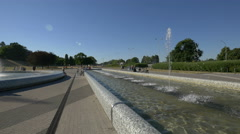 Beautilul fountains at Multimedia Fountain Park in Warsaw Stock Footage