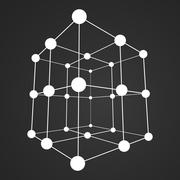 Stock Illustration of Wireframe Mesh Cube. Connected dots and lines.
