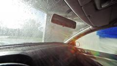 Car brush washing station. Inside a car Stock Footage