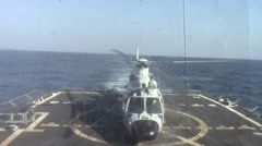 Chinese Helicopter Takes off From Deck of US Destroyer Stock Footage