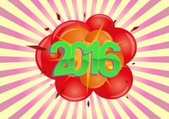 illustration of 2016 text with explosion - stock illustration