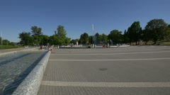 Riding a bike and relaxing at Multimedia Fountain Park in Warsaw Stock Footage