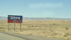 Utah state sign on road Stock Footage