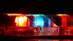4K UHD - Blue and red police strobe lights closeup at night Stock Footage