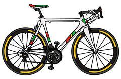 White racing bike - stock illustration