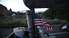 american flag on camground host cart - stock footage