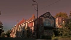 Twilight Sunset Graffiti Street - Editorial -  25FPS PAL Stock Footage