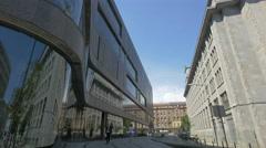 Walking on Bracka street on a sunny day, Warsaw Stock Footage