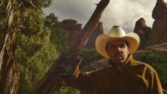 Cowboy outside wild west western Stock Footage
