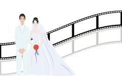 Beautiful bride with nice background - stock illustration