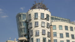 The beautiful Dancing House in Prague Stock Footage
