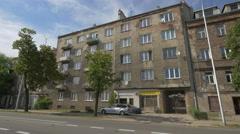 Old buildings on Jana Zamoyskiego street in Warsaw Stock Footage