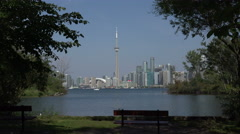 Toronto skyline from Centre Island, Canada Stock Footage