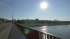 Old Town seen from Silesian-Dabrowski Bridge on a sunny day in Warsaw Stock Footage