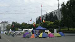 Protester camp in the center of Chisinau, Moldova Stock Footage