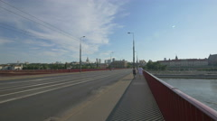 Walking on Silesian-Dabrowski Bridge and heading to the Old Town in Warsaw Stock Footage