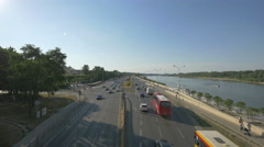 Traffic on Coast Gdansk on a sunny day in Warsaw Stock Footage