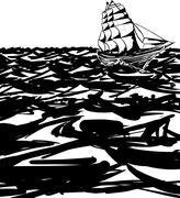 Outlined Clipper Ship On Ocean - stock illustration