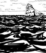 Clipper Ship on Water Outline - stock illustration