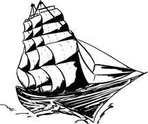 Outlined Clipper Ship - stock illustration