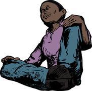 Low Angle of Meditating Man - stock illustration