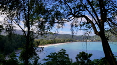 Tropical beach viewpoint through trees and bushes Stock Footage
