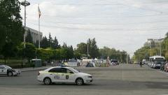 Police surveillance of protester camp in Chisinau, Moldova Stock Footage