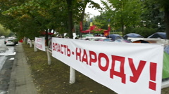 Power for the people banner in front of Presidency building in Moldova, Chisinau Stock Footage