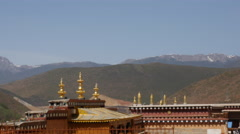 Mountains From The Tibetan Ganden Sumtsenling Monastery Shangri-La China Stock Footage