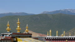View From The Roof Of The Tibetan Ganden Sumtsenling Monastery Shangri-La China Stock Footage