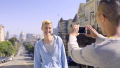 Asian Man Takes Photo Of His Boyfriend In San Francisco,  With Beautiful Views Stock Footage