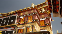 Close Up Detail Of Sumtsenling Monastery Architecture Stock Footage