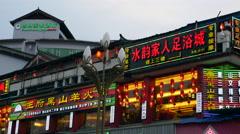 Chinese Illuminated Neon Restaurant Signs At Night In Lijiang China Stock Footage