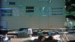 1966: Camping trailer tent and car towing on trip across America. Stock Footage
