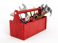 Red toolbox full of hand tools - stock illustration